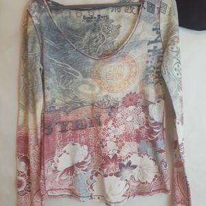Lucky Brand Thermal Long Sleeve Asian Print Shirt